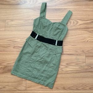 BCBGeneration • Army Green Mini Moto Dress